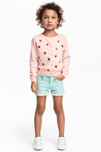 Twill shorts with lace - Mint - Kids | H&M CN 1