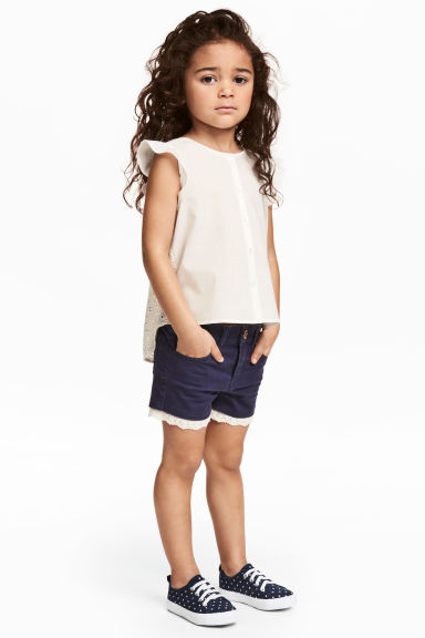 Twill shorts with lace - Dark blue -  | H&M CN 1