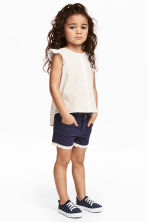 Twill shorts with lace - Dark blue -  | H&M 1