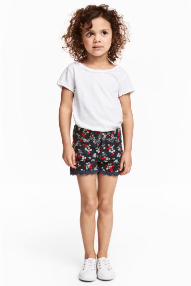 Twill shorts with lace - Dark blue/Strawberries - Kids | H&M GB