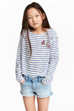 Loose-knit jumper - Blue/White/Striped - Kids | H&M CN 1