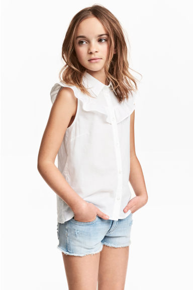 Sleeveless frilled blouse - White - Kids | H&M CN 1