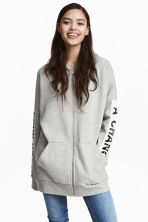 Oversized hooded jacket - Grey marl - Ladies | H&M 1
