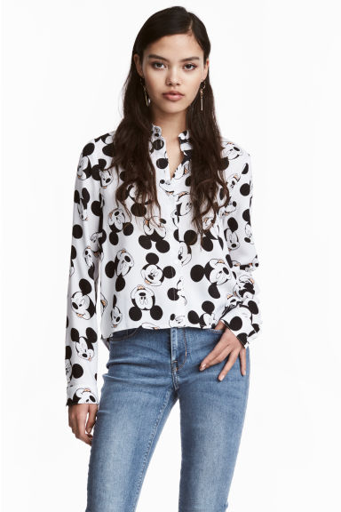 Patterned shirt - White/Mickey Mouse - Ladies | H&M CN 1