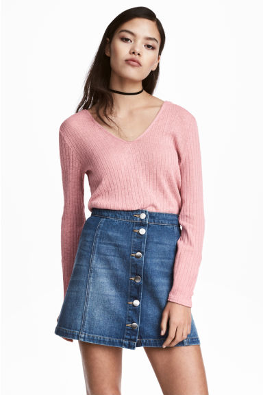Knitted hooded jumper - Old rose - Ladies | H&M 1