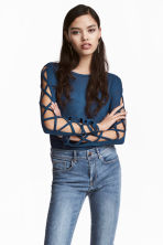 Fine-knit jumper - Blue - Ladies | H&M CN 1