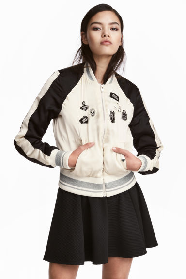 Short bomber jacket - White/Black - Ladies | H&M 1