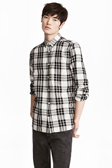 Checked cotton shirt - Natural white/Black - Men | H&M 1
