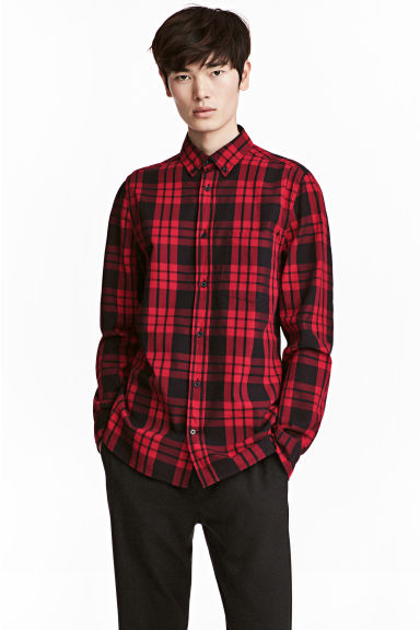 Checked cotton shirt - Red/Black - Men | H&M CN