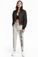 Printed joggers - Grey marl - Ladies | H&M 1
