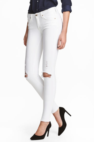 Super Skinny Low Jeans - White denim - Ladies | H&M CN