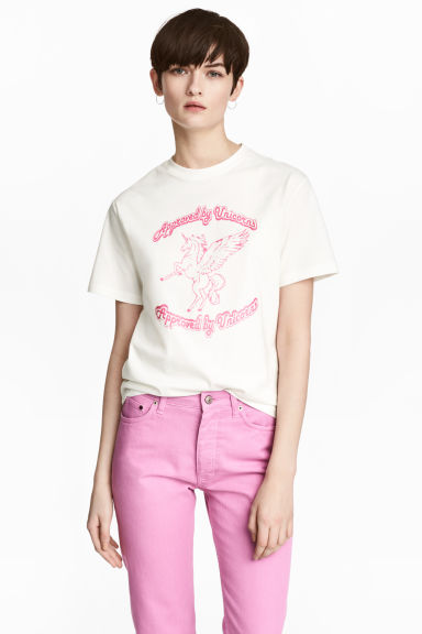 Printed T-shirt - White/Unicorn - Ladies | H&M 1