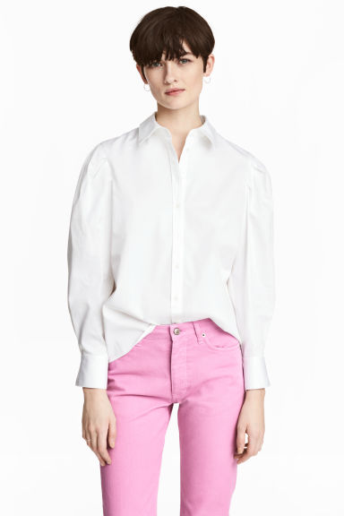 Cotton shirt with puff sleeves - White - Ladies | H&M CN 1