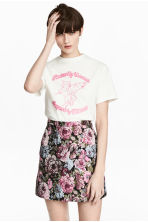 Jacquard-weave skirt - Black/Floral - Ladies | H&M 1