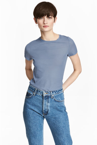 Silk-blend top - Dusky blue - Ladies | H&M CN 1