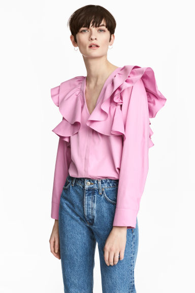 Ruffled blouse - Pink - Ladies | H&M CN 1