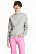Sweatshirt with lacing - Grey marl - Ladies | H&M CN 1
