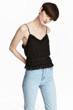 Short strappy top - Black/Spotted -  | H&M 1