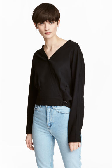 Lyocell-blend wrapover blouse - Black - Ladies | H&M CN 1