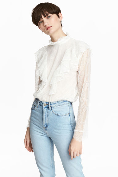 Lace blouse - Natural white -  | H&M 1