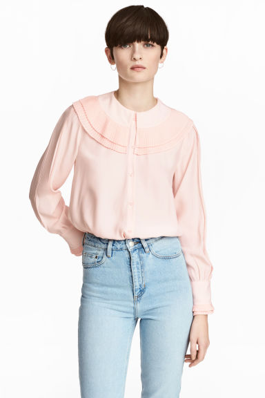 Long-sleeved blouse - Powder pink - Ladies | H&M 1