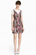 Jacquard-weave dress - Black/Floral - Ladies | H&M GB 1
