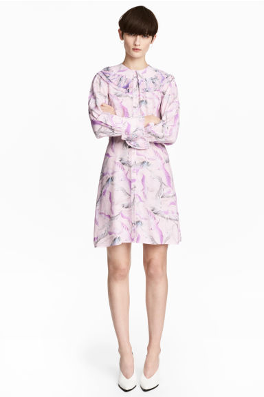 Patterned shirt dress - Light pink/Birds - Ladies | H&M CN 1