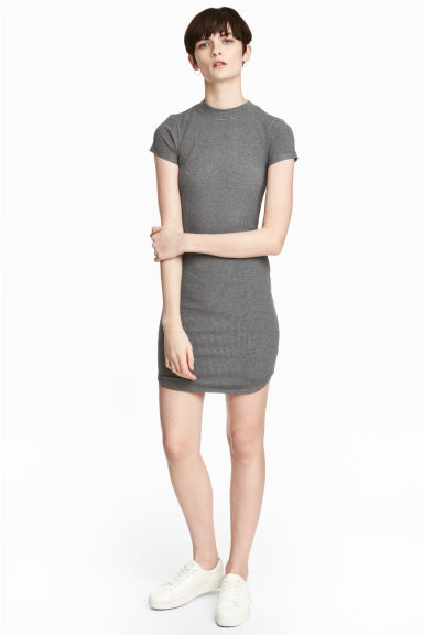 Fitted jersey dress - Grey marl - Ladies | H&M 1