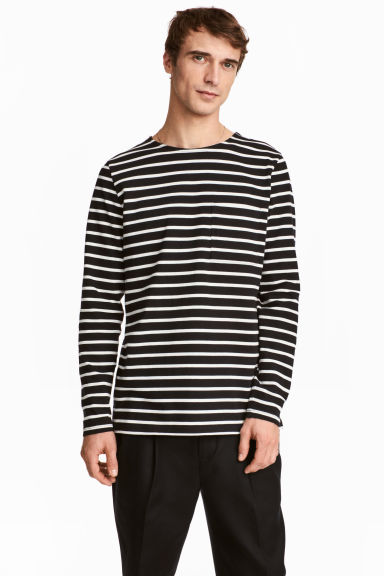 Top with a chest pocket - Black/White/Striped - Men | H&M 1