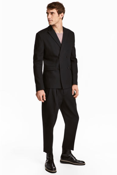 Cotton twill suit trousers - Black - Men | H&M IE
