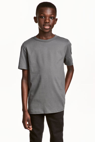 Cotton T-shirt - Dark grey -  | H&M CN