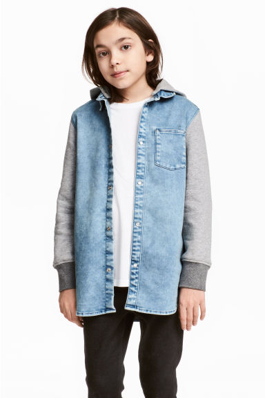 Hooded denim shirt - Denim blue - Kids | H&M