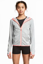 Sports jacket with a hood - Grey marl -  | H&M 1