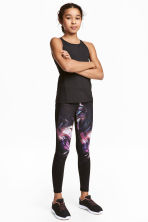 Sports tights - Black/Purple -  | H&M 1