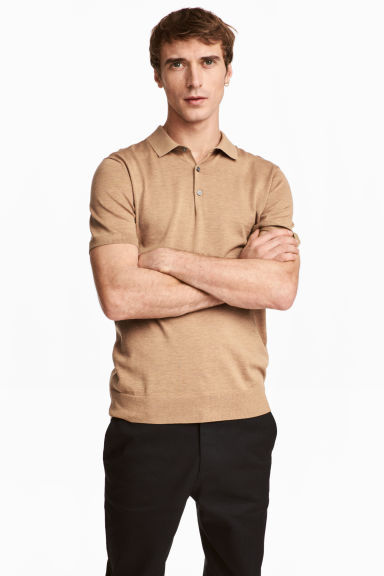 Silk-blend polo shirt - Dark beige - Men | H&M 1