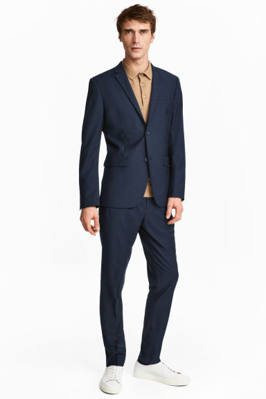 Marled suit trousers - Dark blue -  | H&M