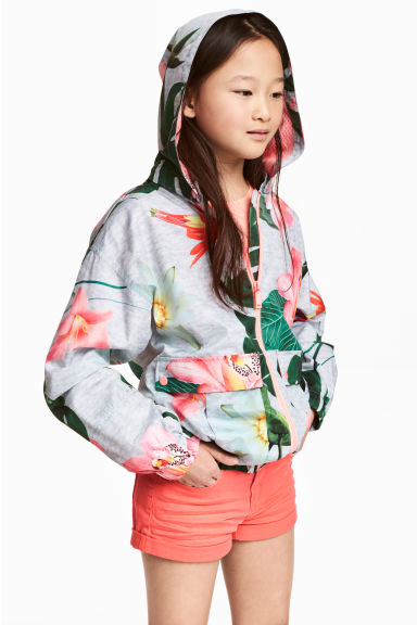 Windproof jacket - Light grey/Patterned - Kids | H&M 1