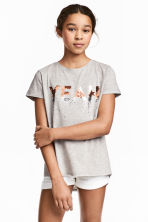 Short-sleeved jersey top - Grey marl -  | H&M CN 1