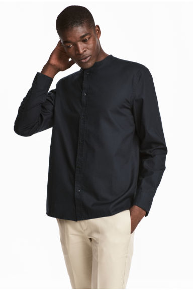 Grandad shirt Regular fit - Black - Men | H&M