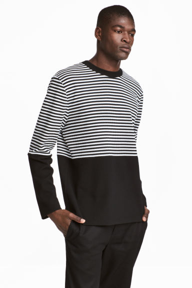 Jacquard-knit jumper - Black/White/Striped - Men | H&M 1