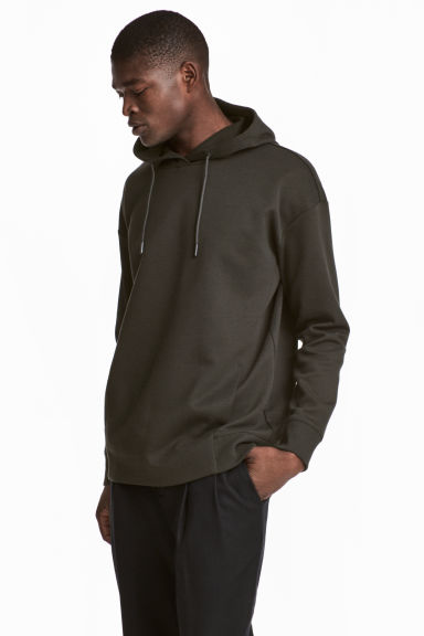 Scuba hooded top - Dark khaki green - Men | H&M