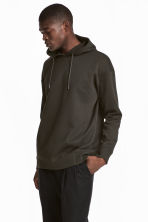 Scuba hooded top - Dark khaki green - Men | H&M 1