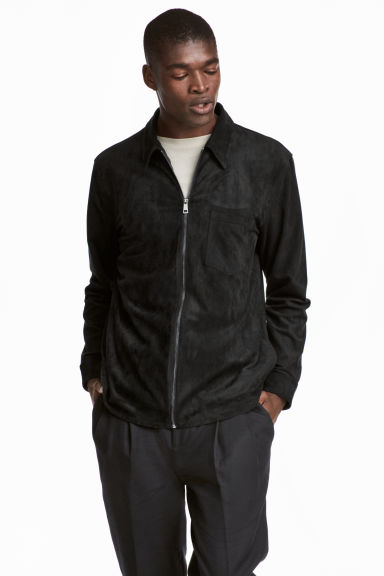 Imitation suede shirt jacket - Black - Men | H&M CN 1
