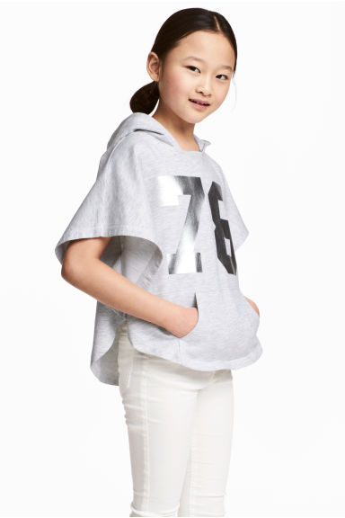 Poncho with a hood - Light grey marl - Kids | H&M 1