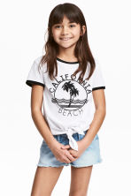 Tie-front top - White/California - Kids | H&M 1