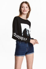 Printed jersey crop top - Black - Ladies | H&M 1