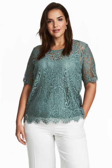 H&M+ Lace blouse - Dusky green -  | H&M CN