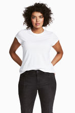 H&M+ Jersey top - White - Ladies | H&M 1