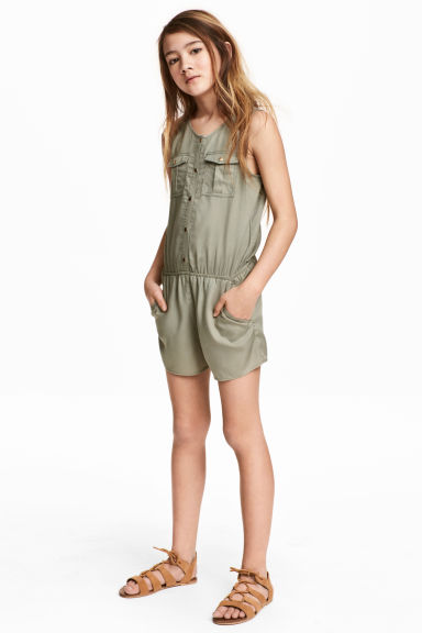 Sleeveless  playsuit - Khaki green - Kids | H&M 1