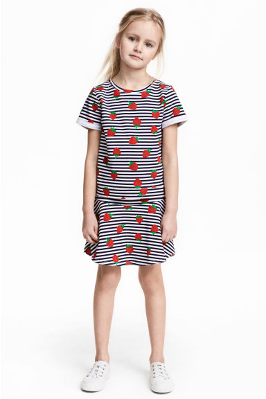 Top and skirt - White/Strawberries - Kids | H&M CN 1